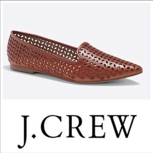 New J Crew perforated pointed tan flats